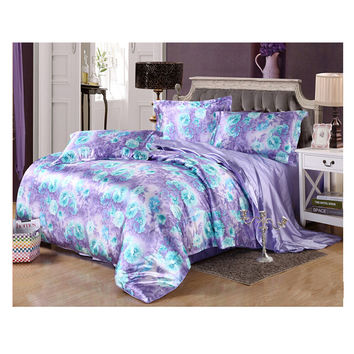 Silk King Queen Double Size Silk Duvet Quilt Cover Sets Bedding Cover Set 1.5M/1.8M Bed 03