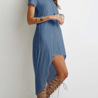 Navy High Low Hem Shirt Dress