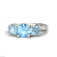 Blue Topaz & Aquamarine Platinum Over 925 Silver Disney Princess Cinderella Ring