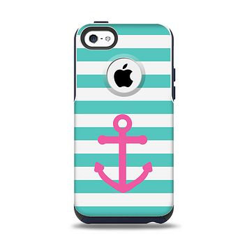 The Teal Striped Pink Anchor Apple iPhone 5c Otterbox Commuter Case Skin Set