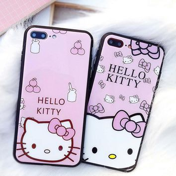Hello Kitty Phone Case For iPhone X 8 7 Plus Tempered Glass Cover Full Protection Cute Cartoon Case For iPhone 8 Plus 6 6S Plus