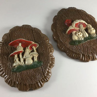 Vintage Mushroom Plaques Retro Faux Wood Toadstool Wall Hanging 1960's Home Decor Green Orange Kitchen