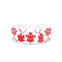 "Miranda Mol ""Angels Singing White"" Red Holiday Pet Bowl"