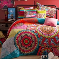 Averleigh Boho Bohemian 4 PC Queen Duvet Bedding SET