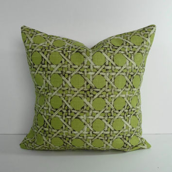 Decorative Wicker Pillow Cover, Throw Pillow, Cushion, Lime Green, Green, 16 x 16