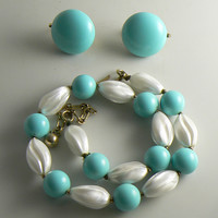 Vintage Crown Trifari Turquoise and White Bead Necklace Earring Set
