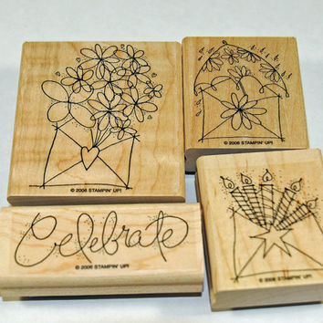 "Stampin Up Stamp Set Send A Celebration"" MINT and RETIRED Card Making, Scrapbooking, Stamping, Crafts"