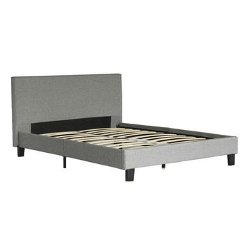 Queen Size Grey Upholstered Platform Bed Frame With Headboard