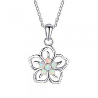 Sterling Silver Created White Opal Hawaiian Flower Pendant Necklace