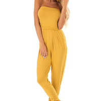 Honey Strapless Jumpsuit with Ruched Edge Details