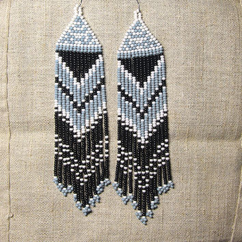 Beaded Native American Earrings  Inspired. White Black Gray Earrings. Dangle  Earrings.Long Earrings.  Beadwork.