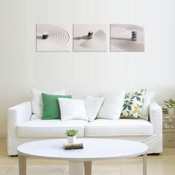 3 Panel Zen Spa Stone Oil Painting on Canvas Wall Art - 5 Size Options