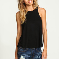 BLACK RIBBED KNIT ESSENTIAL TANK TOP