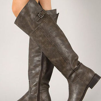 Rider Tall Boots: Modeled Grey (Taupe PU)