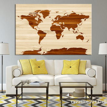 Wooden Effect World Map Canvas Wall Art, Rustic Canvas Art Print, Home Decor, No:076