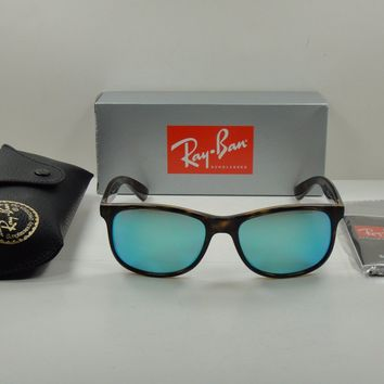 RAY-BAN ANDY POLARIZED SUNGLASSES RB4202 710/9R TORTOISE/BLUE MIRROR LENS 55MM