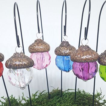 Fairy garden lanterns. Hanging lanterns. Set of 6. Miniature acorn cap lanterns. Dollhouse, terrarium décor.