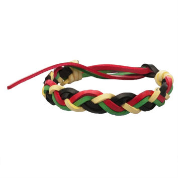 Thick Rasta Braided Leather Adjustable Bracelet