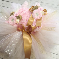 Pink Gold Birthday Outfit, Pink Gold baby Girls First Birthday Outfit, Pink Gold TuTu Set, Baby Headband, Pink Petti Romper, Pick & Choose