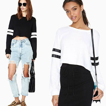 Black Cropped Sweatshirt With Striped Sleeve -White/Black