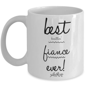 """Couple Coffee Mugs - Funny Knitting Mug For Her - Fun Fiance Coffee Mugs - Present For Knitter - Cheap Gift for Knitting Lover - Inexpensive Knitters Gifts - Her Knittin Coffee Mugs -   White Ceramic 11"""" Vday Jar Cup For Coffee & Cookies"""