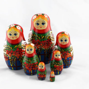 Matryoshka Russian Nesting Doll Babushka Beautiful Kalinka Kalina Viburnum Set 7 Pieces Pcs Hand Painted Wooden Souvenir Handicraft Craft