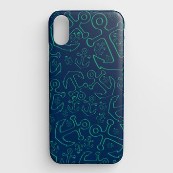 Anchor Dream Cell Phone Case iPhone XS Max - Green on Navy
