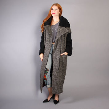 80s AVANT Garde WOOL COAT / Black & White Tweed and Sweater Knit Nipon Draped Jacket