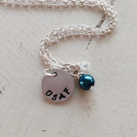 Military, USAF, USMC, Army, Navy, Spouse, Fiancé, Girlfriend, Mom, Sister, Personalized, Hand-Stamped, Pearl, Swarovski Crystal, Necklace