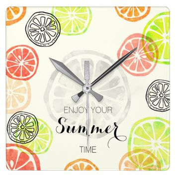 Hand painted lemon fruit seasonal wall clock