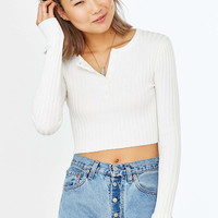 UNIF X UO Ribbed Cropped Henley Top - Urban Outfitters