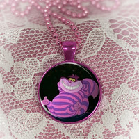 Cheshire Cat  Round Cabochon Necklace or keyring V4562