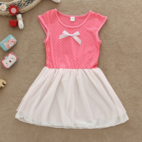 1 PC 2015 New Baby Girl Summer Dress Chiffon Lace Patchwork Polka Dot Bownot Girls Dresses Lovely Princess Party Dress Baby Girls Clothes