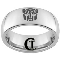 CLEARANCE Size 9 1/2 Tungsten Carbide 8mm Dome Transformers Ring
