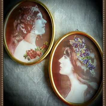 Handmade  altered oval wall hanging  vintage ladies pictures in vintage frames, a pair