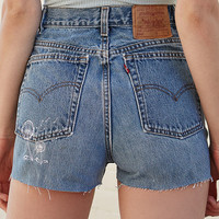 LA.EDIT Embroidered Denim High Rise Shorts at PacSun.com