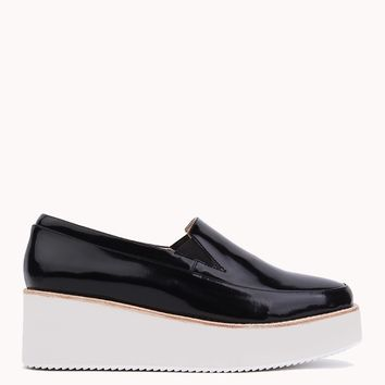 Wedges | Flatform Loafers | Patent leather loafers - AKIRA