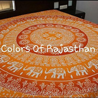 Christmas Gift Cor's Orange Ombre Mandala Tapestry, Hippy Throw Mandala Tapestry Indian Wall Hanging, Tapestry, Bohemian, Tapestries, Queen Bedsheet Bedspread Hippie. by Colors Of Rajasthan