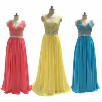 See Through Lace Appliques Scoop Neck Bridesmaid Dresses with Beaded Sash A-line Chiffon Long Bridesmaid Dress