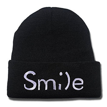 YUGY Smile Logo Beanie Embroidery Beanies Skullies Knitted Hats Skull Caps