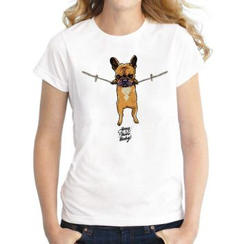 Hang in There French Bulldog T-Shirts - Women's Top Tee
