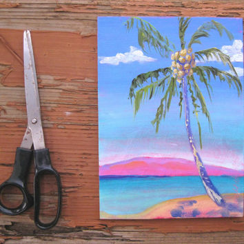 Nearly neon Palm Tree Painting - tropical colors - beach decor - Mother's day gift - hot pink with blue and Coconut palm - home decor