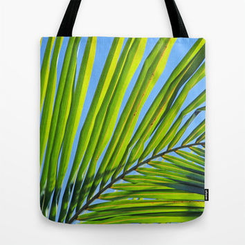 Tropical Tote Bag, Beach Photography, Green Palm Frond, Blue Sky, Market Tote, Yoga Bag, Grocery Tote Bag, Book Bag