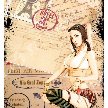 Sexy pinup girl, sexy art, steampunk girl with vintage post cards, aviator art