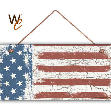 "American Flag Sign, Weathered Patriotic Decor, Stars & Stripes, Crackled Flag, Weatherproof, 5"" x 10"" Sign, USA, 4th of July ,Made To Order"