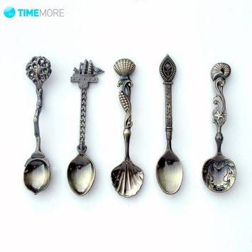 5 Pcs/Set Kitchen Dining Bar Vintage Royal Style Bronze Carved Small Coffee Spoon For SnacksFlatware Cutlery Mini Dessert Spoon