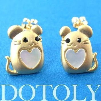 Mouse Mice Animal Stud Earrings in Gold with Heart Shaped Detail | ALLERGY FREE