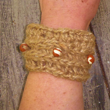 Crochet Jute Cuff/Bracelet with Red and White Handmade Clay Beads