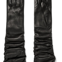 Alexander McQueen - Ruched leather gloves