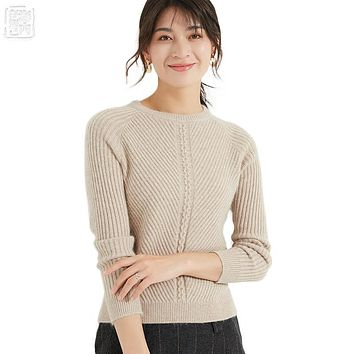 Women's O-neck Cashmere Sweater Ribbed Crewneck Pullover Wool Cashmere Soft Sweater Famale Jumper Autumn Winter Sweaters w7158